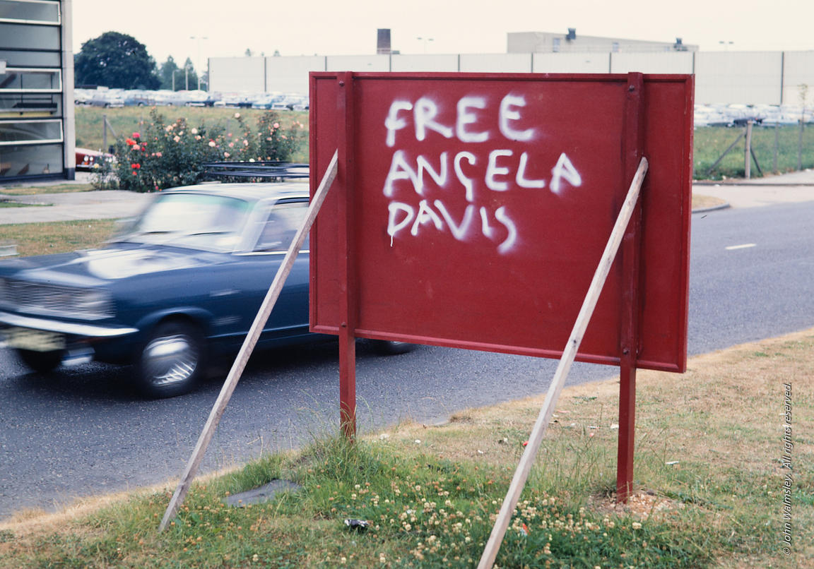 #125047  'Free Angela Davis' grafitti in England.  1971.  Angela Davis was a political activist and academic who was arrested...