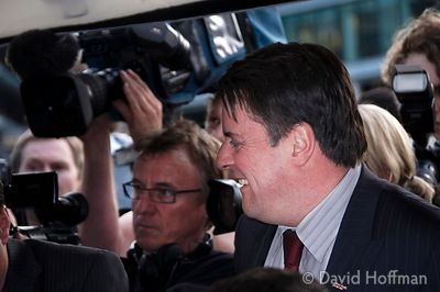 Nick Griffin, leader of BNP, arrives at City Hall as the result of the Mayoral election is awaited. May 2, 2008.