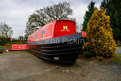 Newly painted hire boat ready for use on the Llangollen canal.
