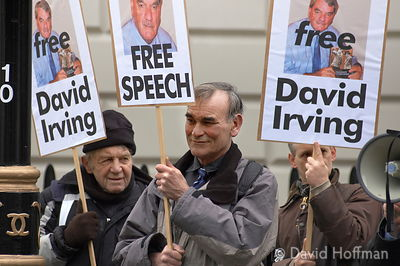 Left: Pissy Jim. BNP demonstration in support of David Irving, arrested in Austria for holocaust denial speeches.