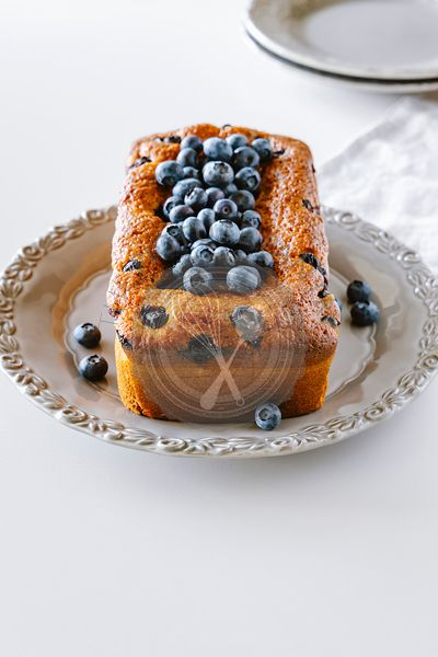 Ricotta pound cake with blueberries