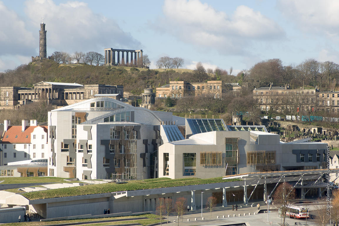 #027667,  New Scottish Parliament building at Holyrood, Edinburgh.  Designed by Spanish architects, Enric Miralles & Benedett...
