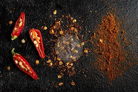 Fresh Red hot chilli peppers seeds flakes and powder
