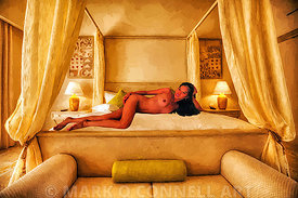 art,nude,pose,luxury,bed,girl,painting