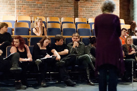 #72293,  Actors, Director and technical staff gather for 'Notes' after a Dress Rehearsal for Shakespeare's, 'Macbeth', Rose B...