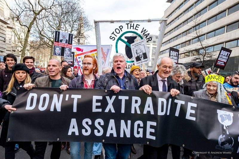John Shipton the father of the WikiLeaks founder Julian Assange leads protestors marching in support of his son demanding he ...