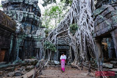 Woman at Ta Prohm temple in the forest, Siem Reap, Cambodia