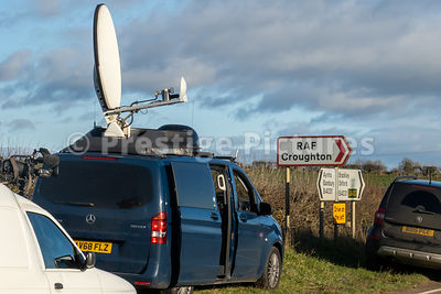 Sky News satellite truck outside US base  RAF CROUGHTON