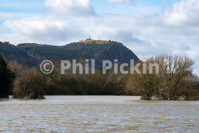 Looking towards Rodney's Pillar on on Breidden Hill over flooded fields.