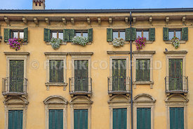 Classical Italian architecture of apartment block in central Verona.