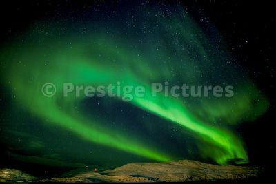 Aurora Borealis forming a horseshoe shape in the skies above Mehamn in Norway