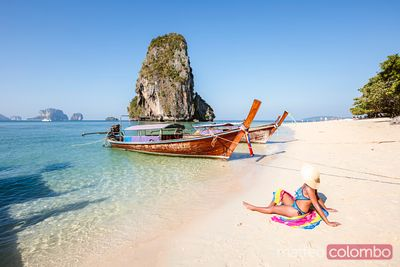 Beautiful asian woman at Phra Nang beach, Railay, Krabi, Thailand