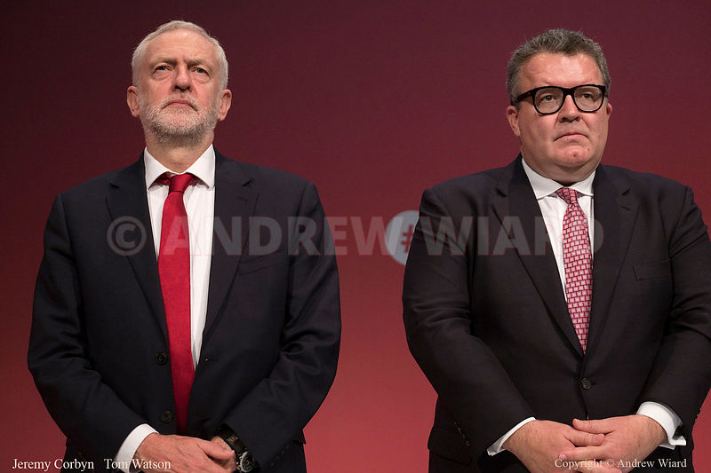 England, UK . 24.9.2017. Brighton. Labour Party Conference Sunday. Jeremy Corbyn - Tom Watson..