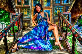 abstract, airbrush, art, Bali, chair, dress, girl, Indonesia, model, posing, woman