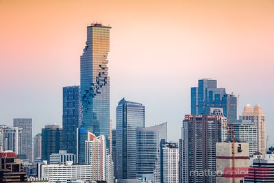 Bangkok skyline at sunset with Mahanakhon