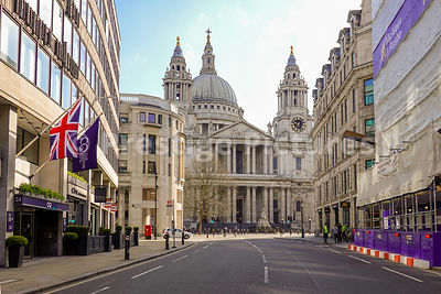 Ludgate Hill and St Pauls Cathedral deserted