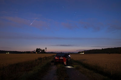 A lone perseid meteor above the countryside in southern Finland on August 13 2019.