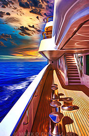 art,painting,airbrush,abstract,pegasus 7,royal denship,superyacht,sunset,sea,ocean,water,deck,capstan,bollards,stairs