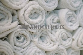 A close up of a stack of rolled white towels