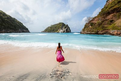 Tourist at Atuh beach, Nusa Penida, Bali, Indonesia