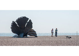 "#73734,  ""Scallop"", a sculpture to celebrate Benjamin Britten by Maggi Hambling.  Made specifically for this site on the Suff..."