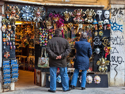 Tourists in Front of a Masks Shop in Venice