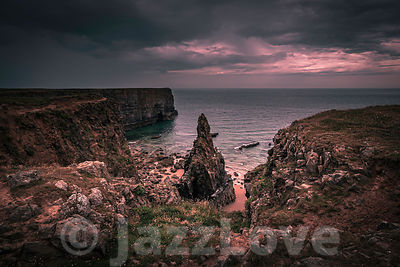 Scenic landscape of Pembrokeshire coast at sunrise in South Wales,UK.