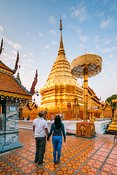 Tourist couple at Wat Phra That Doi Suthep, Chiang Mai, Thailand