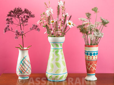 Mixed flowers in vases