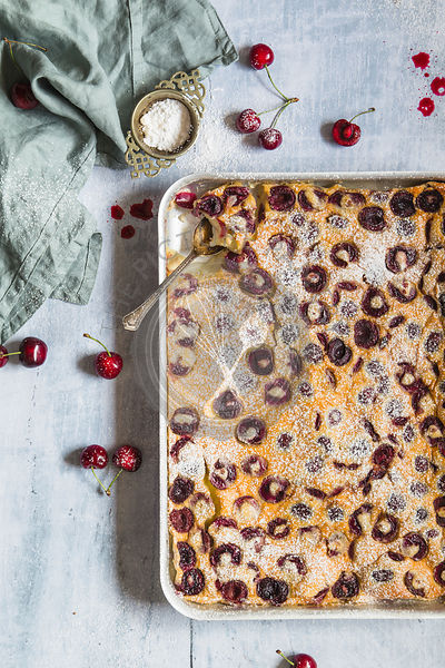 Clafoutis with cherries dessert