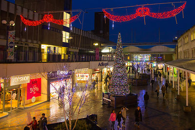 Christmas Shoppers and Lights in Stockport