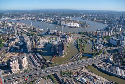Aerial view of Bow Creek and City Island, Leamouth Peninsula, London.