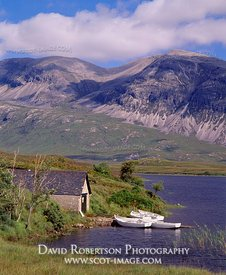 Image - Loch Stack, Boathouse and Arkle, Sutherland, Scotland
