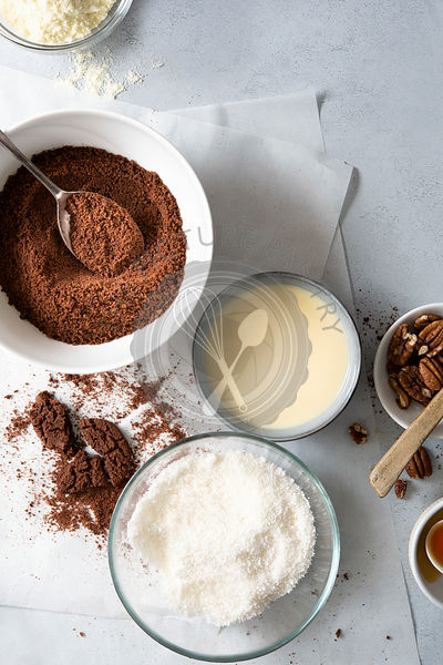 Ingredients to make chocolate truffles.