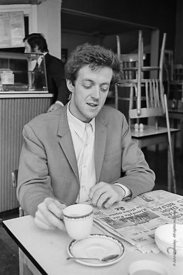 #74860,  Cornelius Cardew (1936-1981), avant-garde musician and composer, in his favourite cafe, Fitzrovia, London.  3rd July...