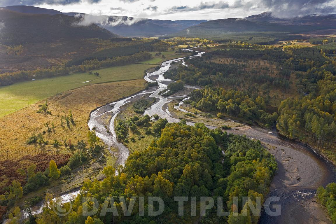 Glenfeshie and braided River Feshie, Cairngorms National Park, Scotland autumn. Glenfeshie  Estate  is an example of one of t...