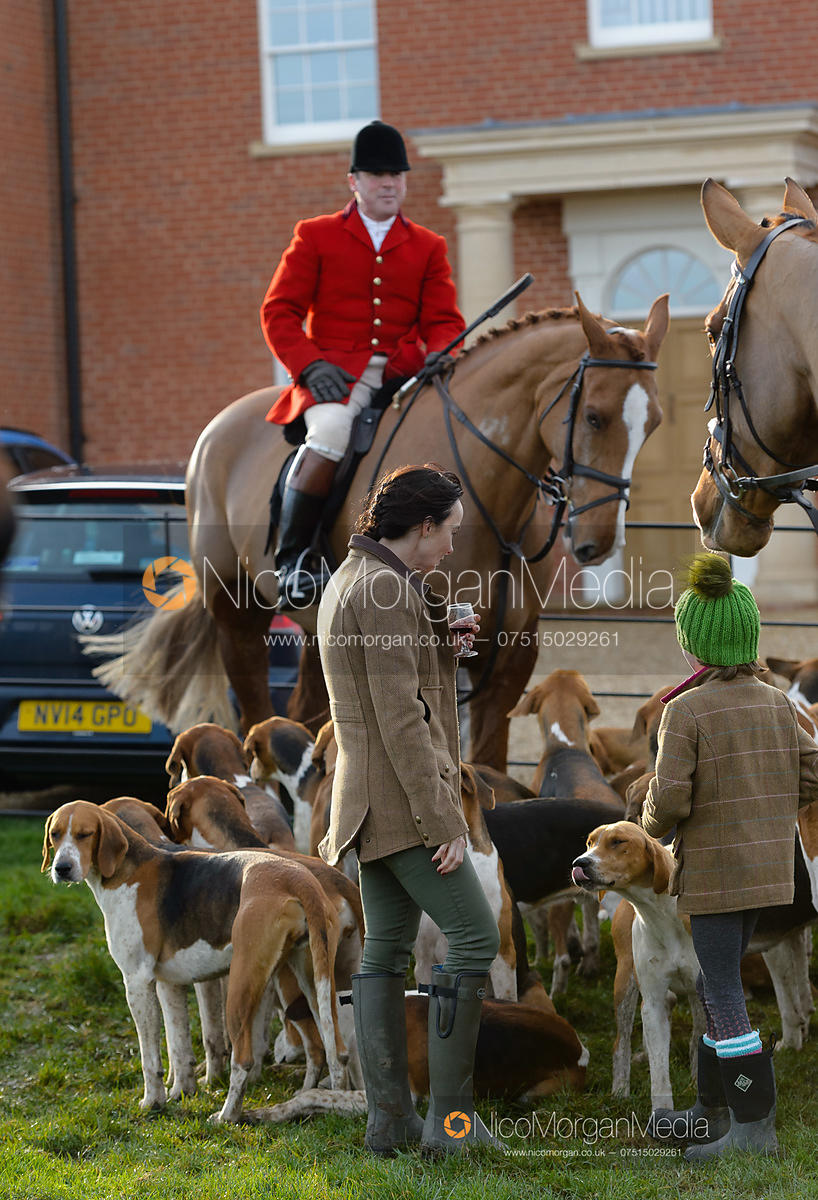 John Holliday and the Belvoir Hounds at the meet at Sheepwash