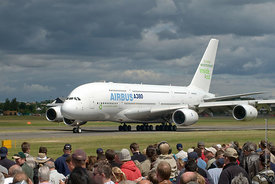 #052263,  Airbus A380 superjumbo at the Farnborough International Airshow .  The largest commercial airliner in the world car...