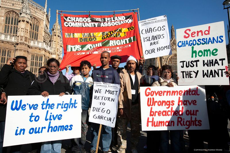 22.10. 2008. London. Parliament. Chagos islanders demonstrate in protest after the law lords ruled against their right to ret...