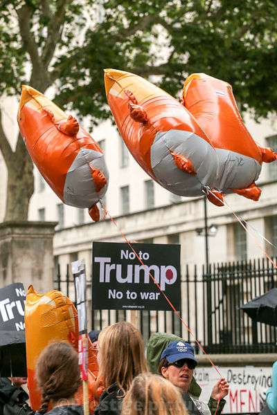 Donald Trump balloons floating during President Trump's State visit