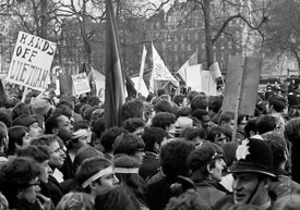 #70451,  Protestors enter Grosvenor Square and scuffles with police begin, anti-Vietnam war demonstration march from Trafalga...