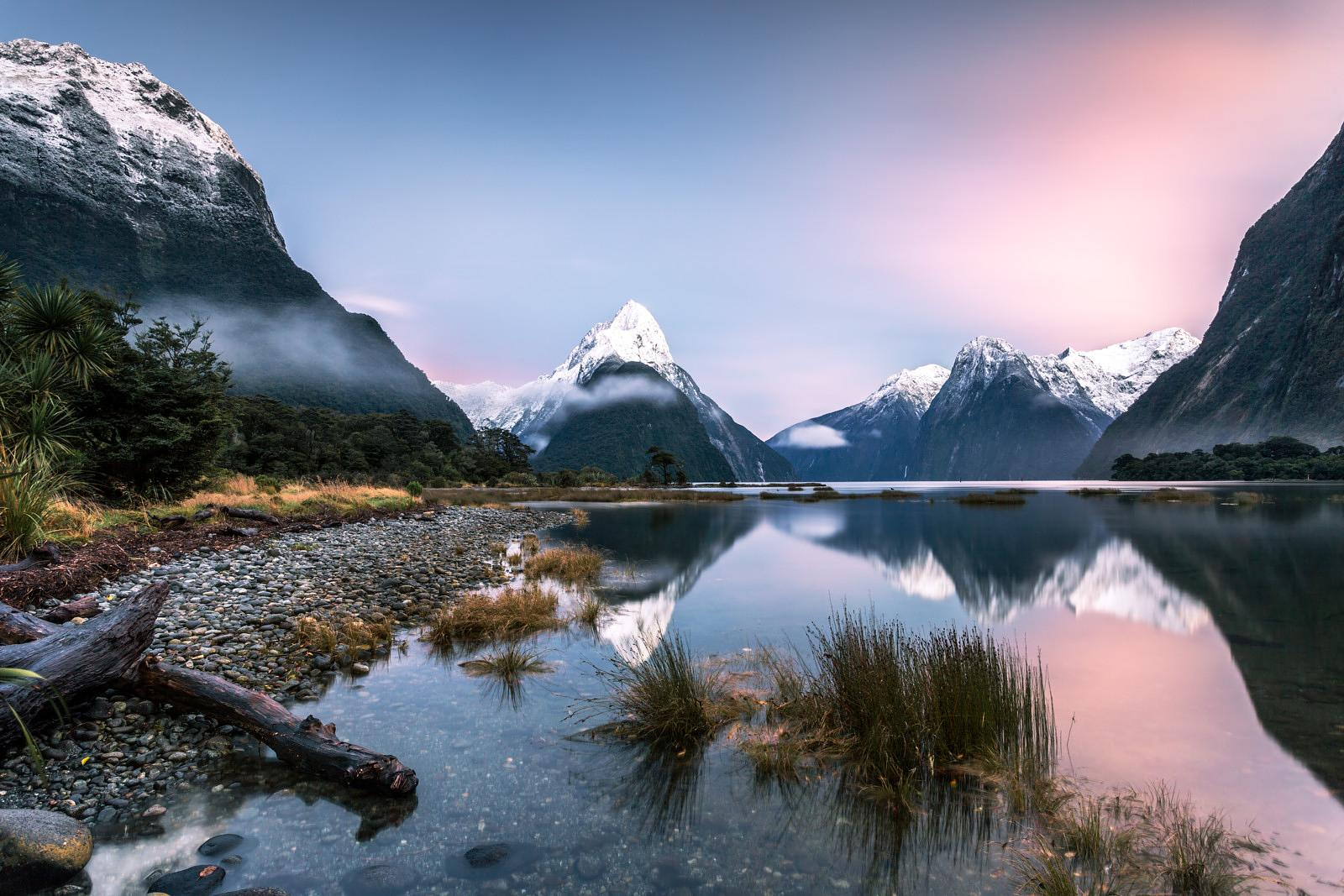 Iconic view of Milford Sound at sunrise, New Zealand