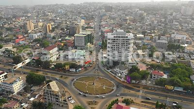 Osu quarter, Accra, from above, drone video