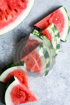 Sliced water melon on a slate background