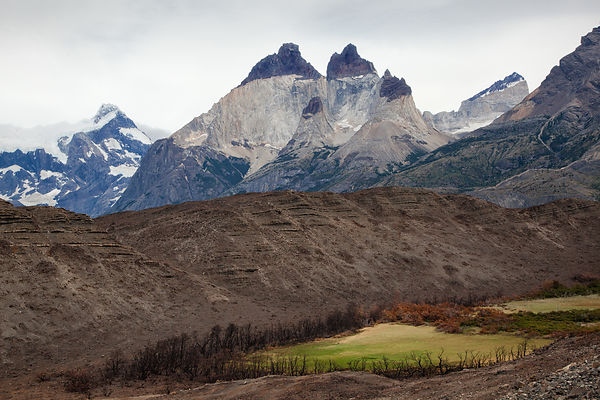View on the Torres del Paine mountain range in Chilean Patagonia.
