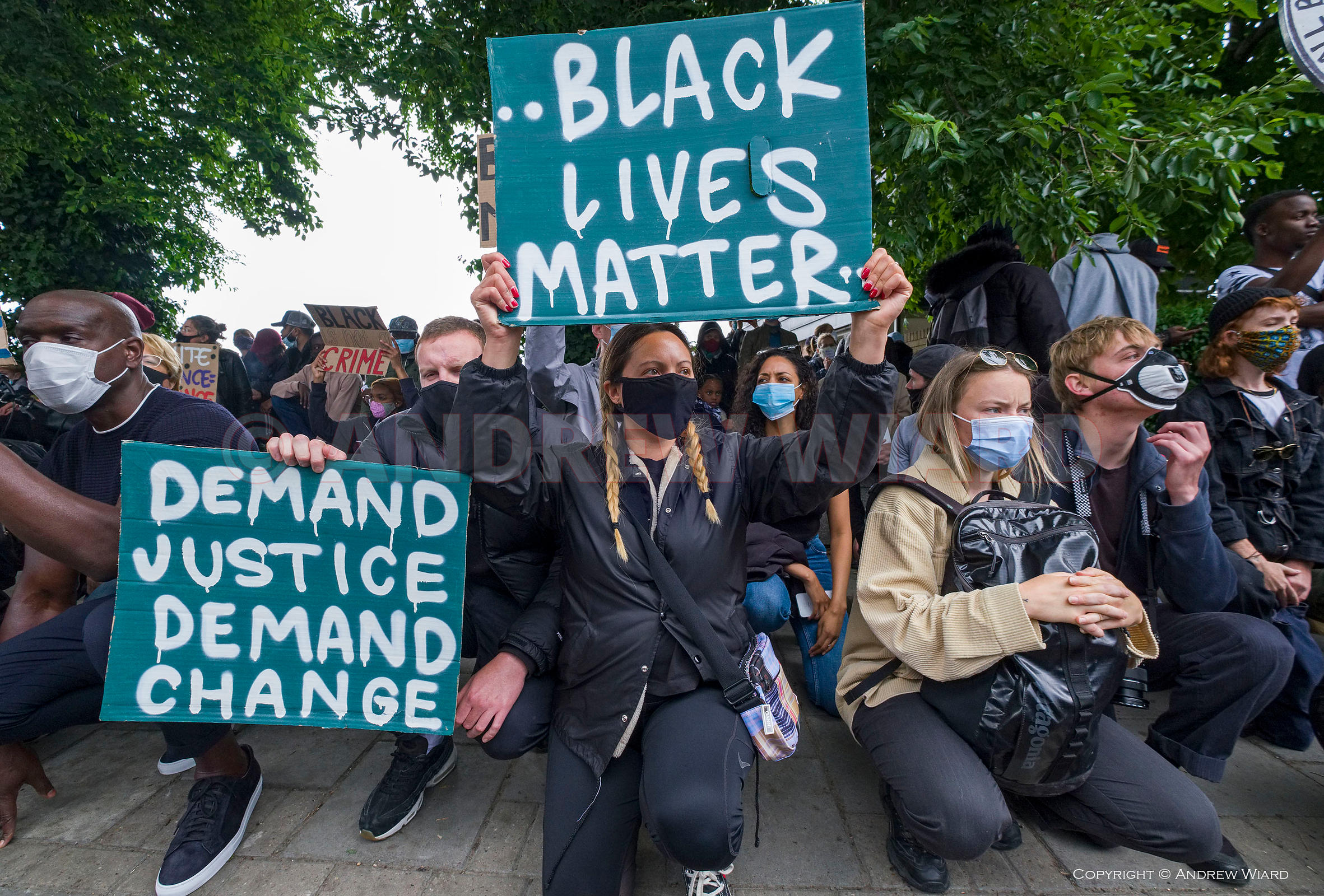 Black Lives Matter demonstration against racial discrimination and police brutality following the death of George Floyd in Mi...