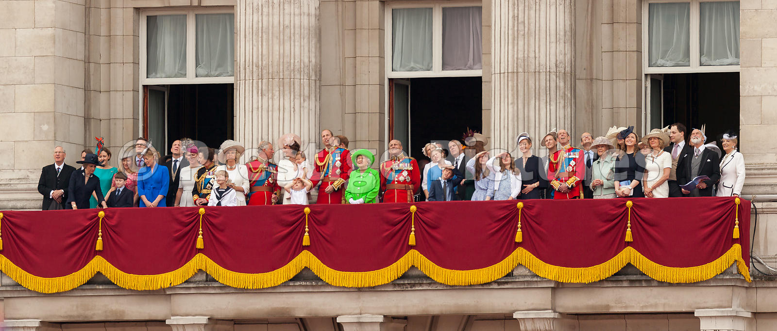The Royal Family Looking to the Sky during the Flypast over Buckingham Palace