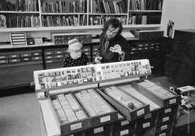 #77269  Marjorie Morrison & Andrew Higgott, Slide Library, Architectural Association School of Architecture, London  1975.