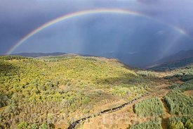 Rainbow over  Strontian Glen and Ariundle Oakwood National Nature Reserve, Sessile Oak woodland in the Sunart region of the S...
