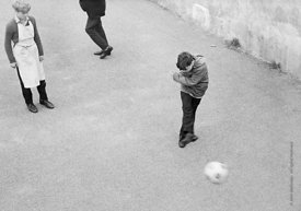 #83830,  Football in the playground, Whitworth Comprehensive School, Whitworth, Lancashire.  1970.  Shot for the book, 'Famil...